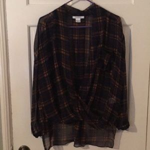Glamorous Killer You Plaid Crossover Blouse