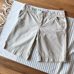 Lilly Pulitzer, khaki, Bermuda shorts!