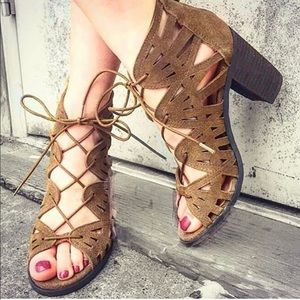 Suede Tan Caged Lace Up Gladiator Chic Sandal