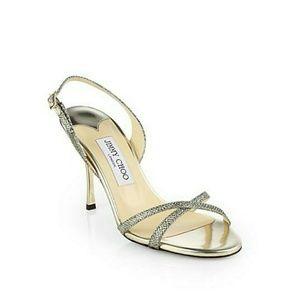 Jimmy choo gold glitter india sandals