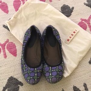 Marni flat shoes with purple prints 8.5 US size