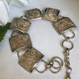 Vintage 925 Sterling silver raised box bracelet