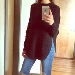 ECHO Black knot side slit sweater size Small