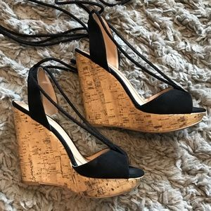Super hot black and cork wedges