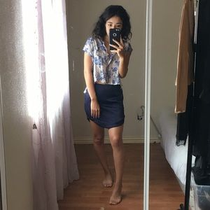 Oversized Floral Cropped Button Down