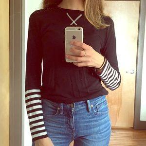 ERIC + LANI black striped cotton Top Size XS