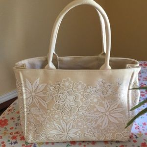 Oscar de la Renta, flowered canvas handbag