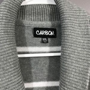 Carbon Sweaters - Carbon • Gray/White Stripped Cardigan