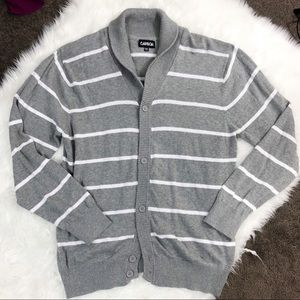 Carbon • Gray/White Stripped Cardigan