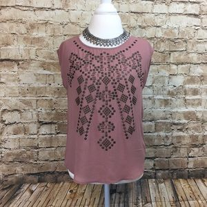 UO Ecote Dusty Rose Riveted Top
