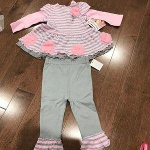 Pink Rose grey top and pants