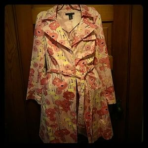 Pink floral trench coat