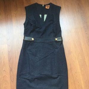 Tory Burch Denim Sheath Dress with Leather Trim