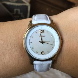 DKNY Stainless Steel watch w/ white leather band