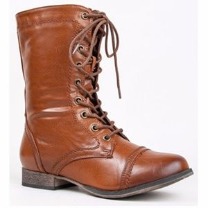 Shoes - Lace up Western cowboy ankle boot (Georgia-72 Tan)