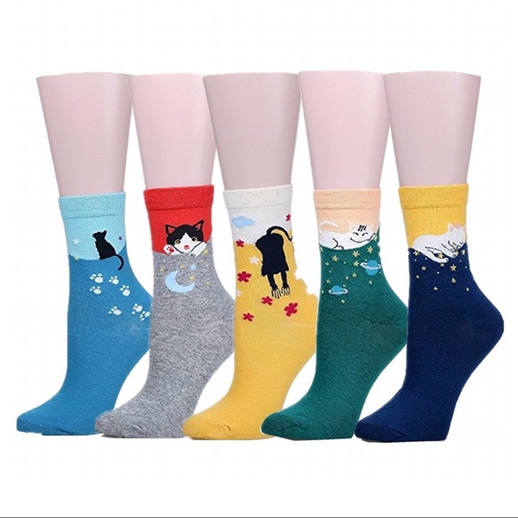 Laura's Boutique Accessories - SET OF 5 CAT CREW COTTON BLEND SOCKS ACCESSORIES