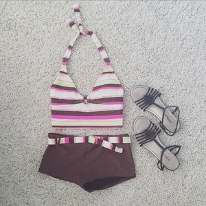 Other - Multi colored two piece swim suit