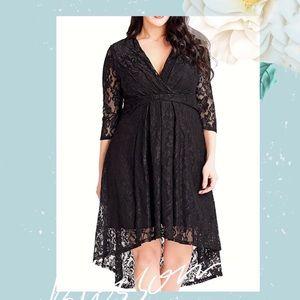 Dresses & Skirts - Plus/Regular Black Lace Hi-Lo Party Dress, S-XXXL