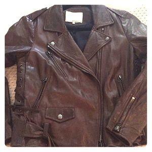 Philip Lim Brown Leather Biker Jacket