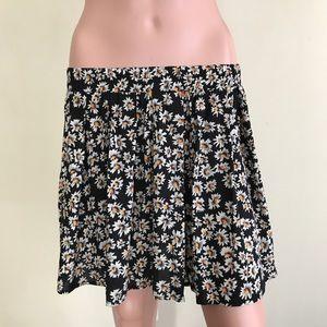 Brandy Melville Black & White Floral Print Skirt