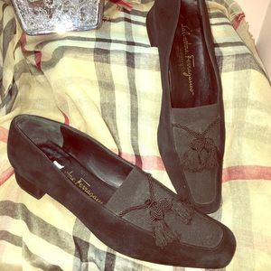 FERRAGAMOS Black Leather & Satin Loafers. Sz 7.5