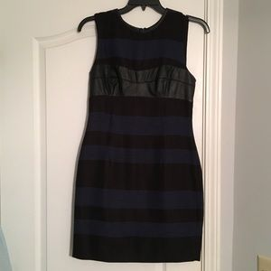 Rachel Roy Black/Navy and Leather Detailed Dress