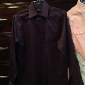 Other - GEORGE SATEEN Dark Purple Dress Shirt