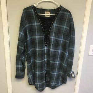 LF plaid criss cross flannel