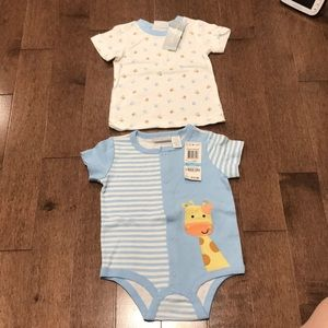 Giraffe onsie and short sleeve top for 6-9 months