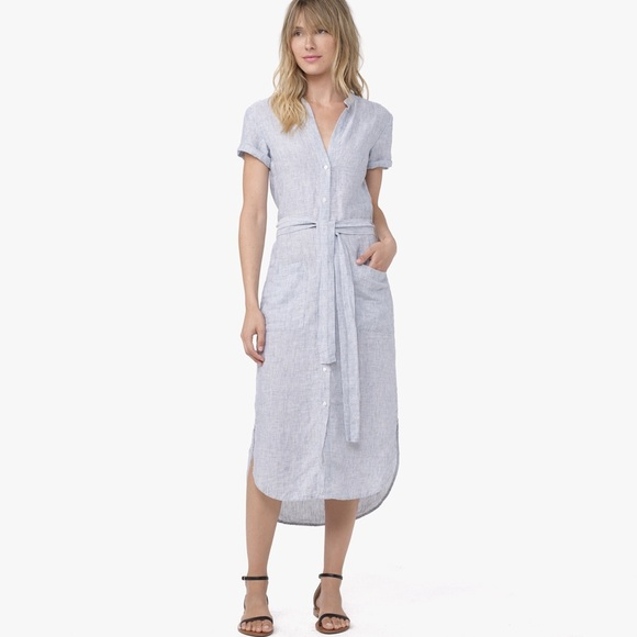 7f405f189b James Perse Dresses   Skirts - James Perse Blue Linen Stripe Shirt Dress