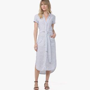 James Perse Blue Linen Stripe Shirt Dress