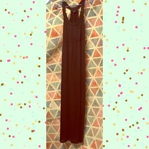 Black braided strap maxi dress