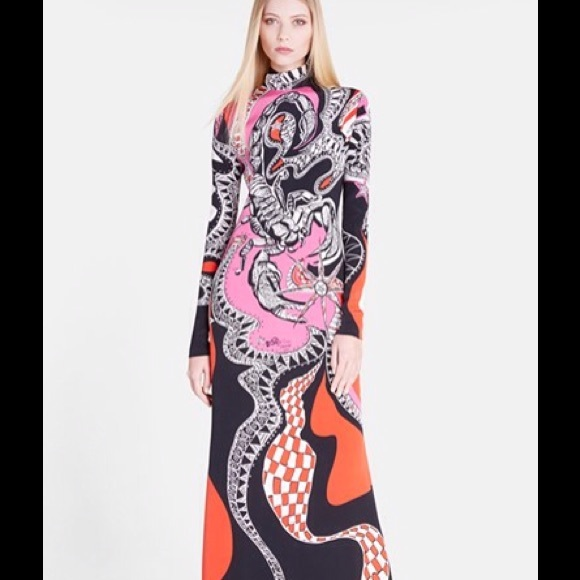 Shop For For Sale boat neck long dress - Pink & Purple Emilio Pucci Buy Cheap Popular Free Shipping Cheap Quality Top Quality Sale Online Manchester Great Sale Online OCDMoGK