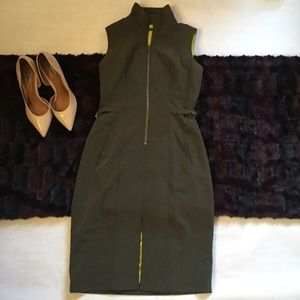OLIVE GREEN MARC NEW YORK MILITARY STYLE DRESS