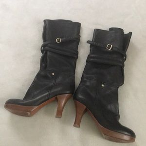 7FAM Heeled Black Wrap Strap Leather Boot