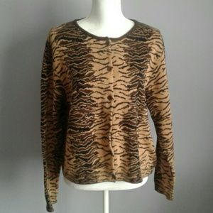 Joan Vass Animal Print Cotton Cardigan