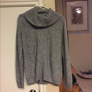 Women's soft cowl sweater top gray SZ L