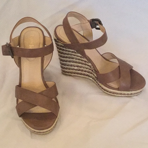 dce66cfcef3 LimeLight Tan Leather Strapped Wedges