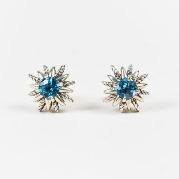David Yurman 12mm Starburst Diamond & Blue Topaz Button Earrings 1w189D9