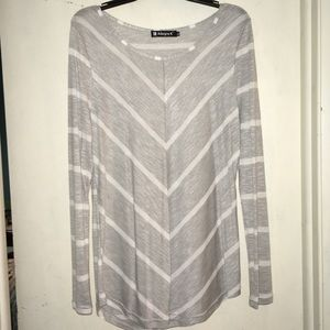Grey and White Long Sleeve Chevron Top