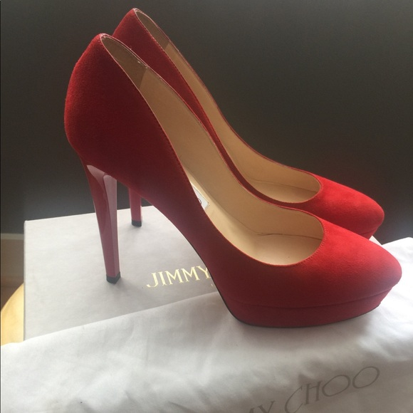 e39710b8018 Authentic Jimmy Choo Red Suede High Heel