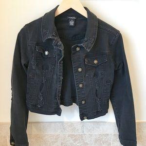 Black jean jacket.