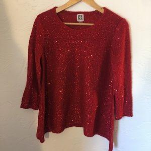 Anne Klein NWOT red sequin 3/4 sleeve sweater