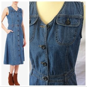 Dresses & Skirts - Sleeveless Denim Front Button Dress