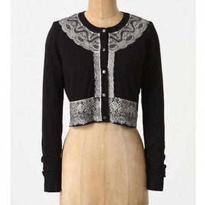 Anthropologie Brushed Lace Cropped Cardigan Sz S