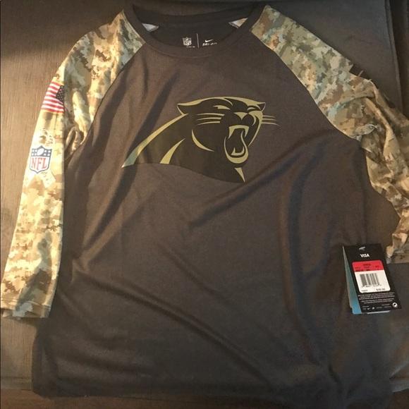 online retailer 43a43 89335 Carolina panthers salute to service camo shirt NWT