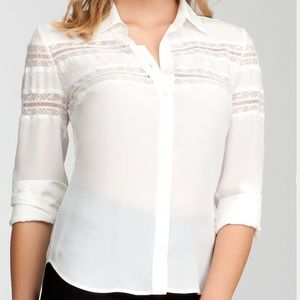 Bebe lace inset silk button down XS