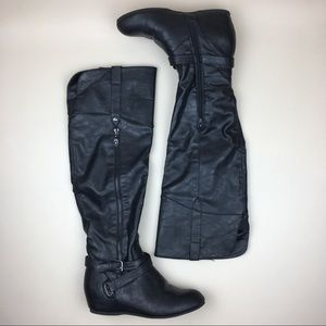2588db2d21bf G by Guess Shoes - 🛍GUESS Gissel Black Over-Knee Hidden Wedge Boots