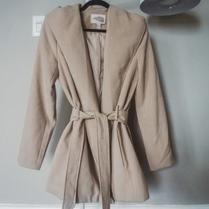 Cozy tan/biege wrap coat with hood