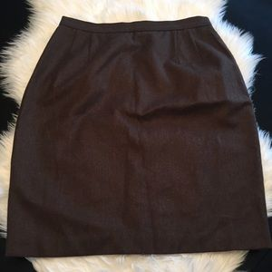 Brown Brooks Brothers 100% wool pencil skirt